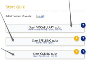 Spelling quiz options